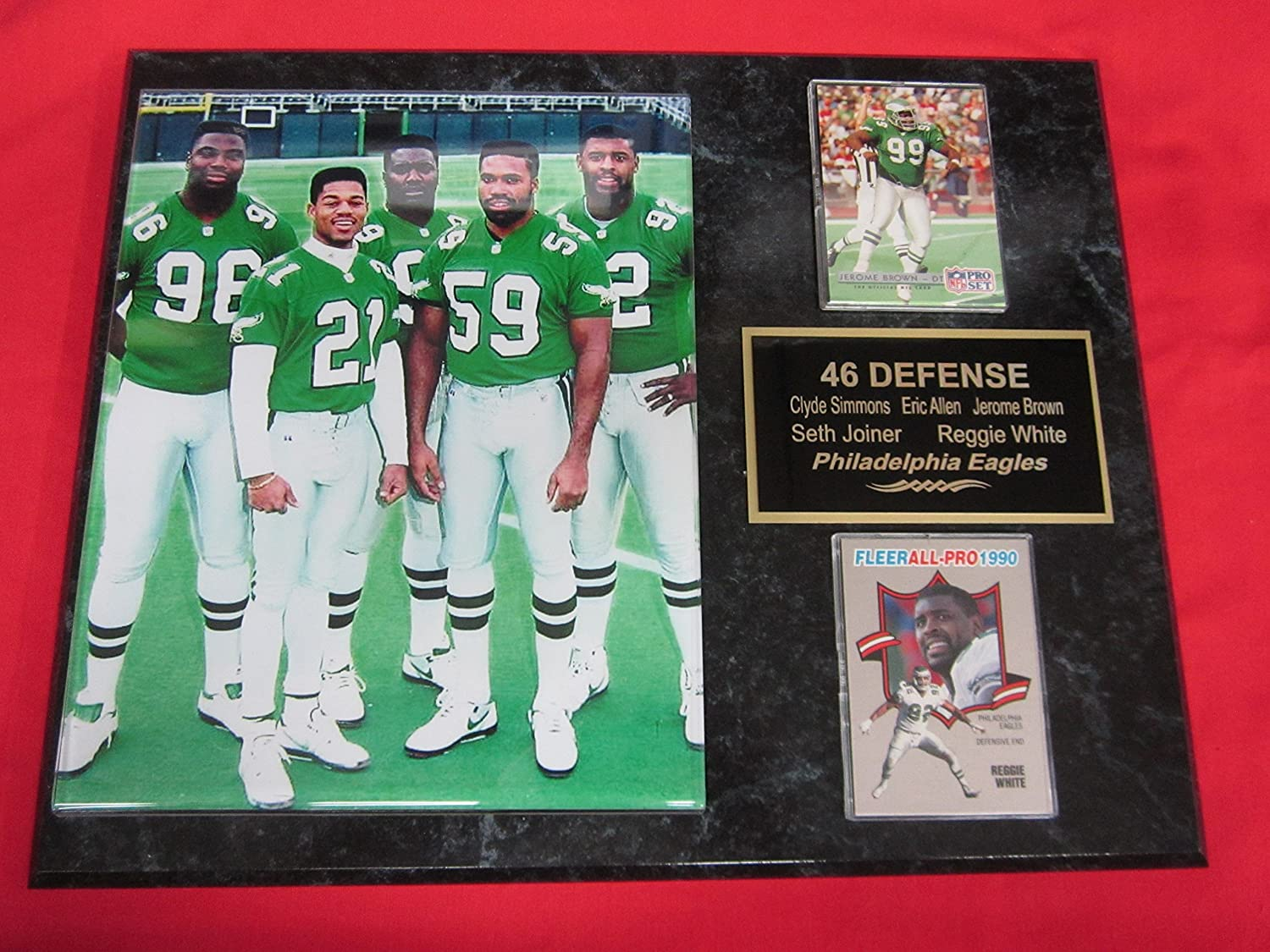 7b6e2b1fb2c Amazon.com : Eagles 46 Defense REGGIE WHITE JEROME BROWN Simmons Joyner 2  Card Collector Plaque w/8x10 Photo : Sports & Outdoors