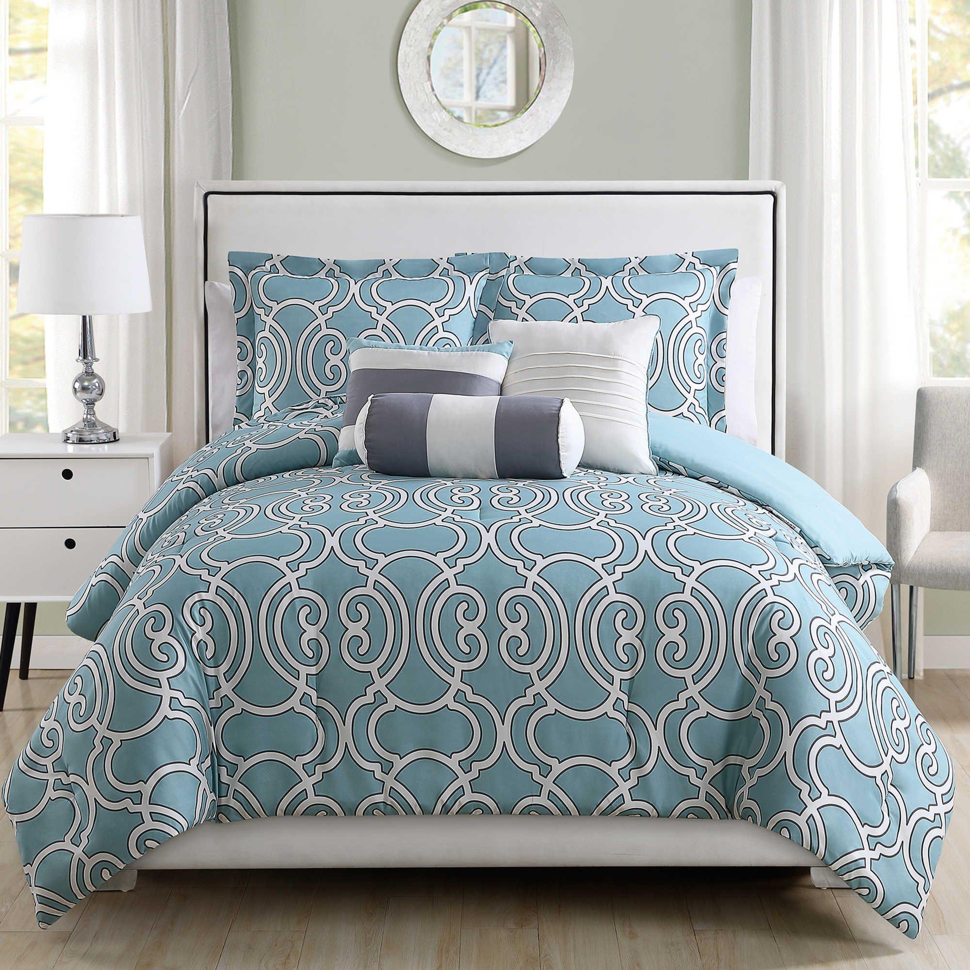 6 Piece Mina Spa/Gray Comforter Set Queen