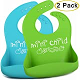 Silicone Bib With Pocket For Baby & Toddlers, Food / Crumbs Catcher, Stain Resistant Baby Bibs Set For Boys & Girls That's Waterproof, Easy Wipe & BPA-Free (Baby Gift Set)