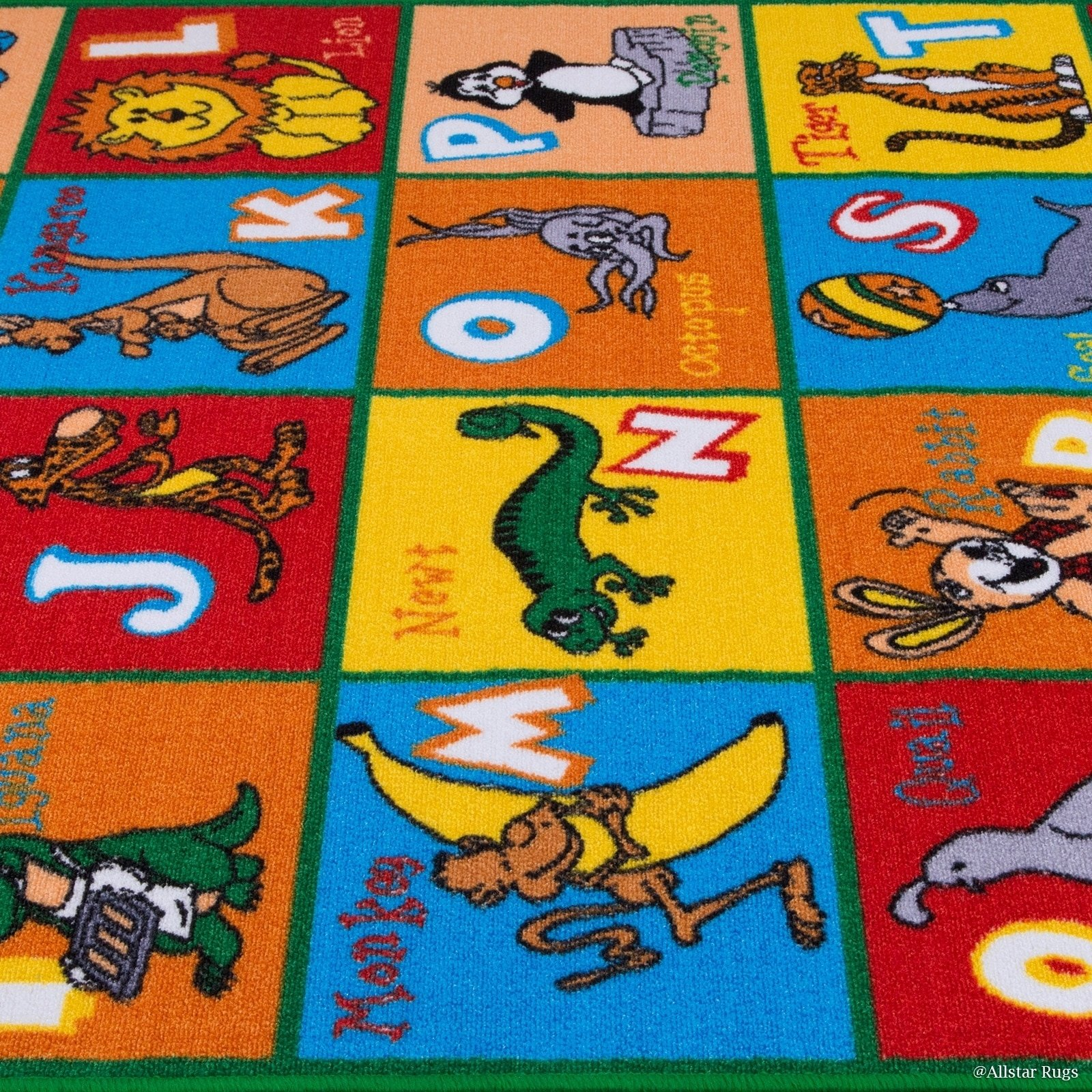 JA 4'11'' x6'11 ft Multi Colored Red Blue Yellow Orange Green White Abstract Patterned Kids Area Rug, Indoor Artistic Alphabet Letters Girl Boy Nursery Room Mat Rectangle Carpet, Animal Nylon Flooring by JA (Image #4)