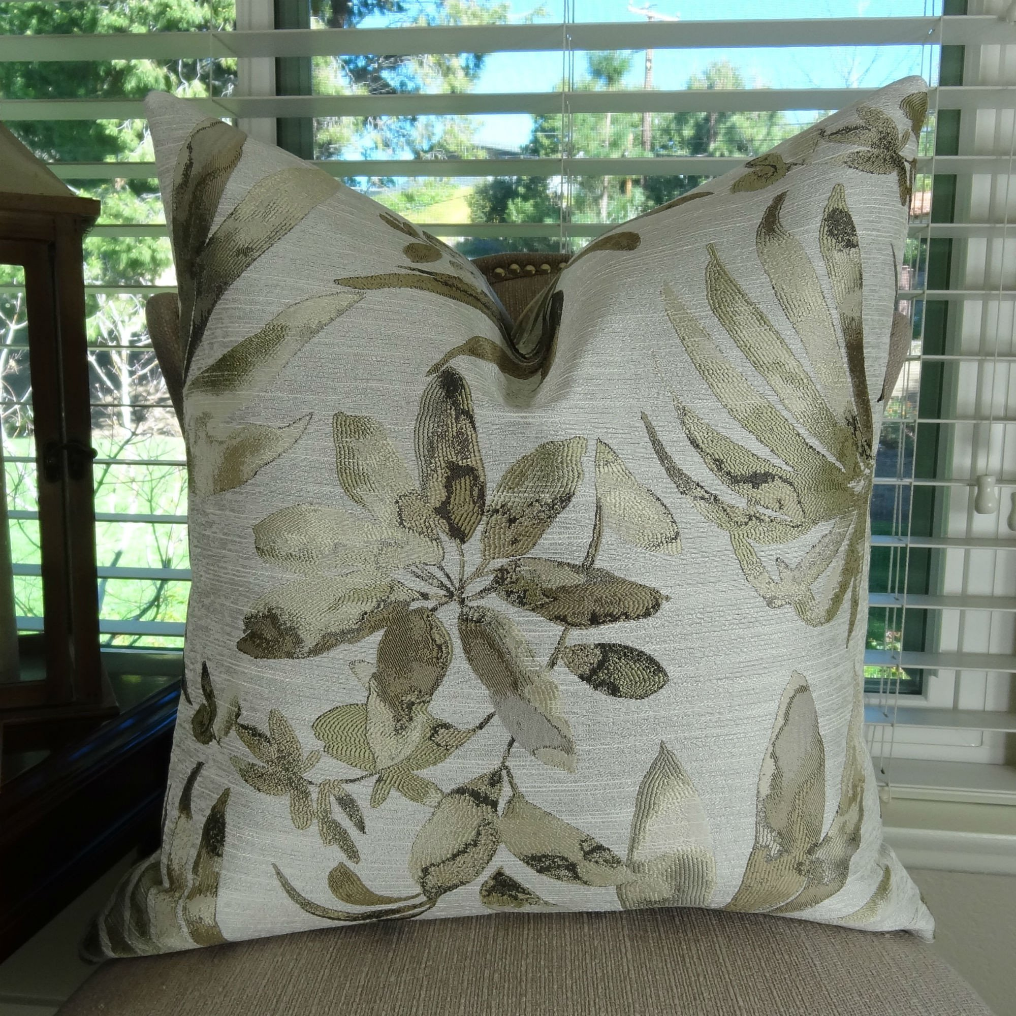 Thomas Collection Floral Throw Pillow, Taupe Pattern Throw Pillow, Designer Floral Accent Pillow, Neutral Pillow, Modern Floral Pillow, COVER ONLY, NO INSERT, Made in America, 11404