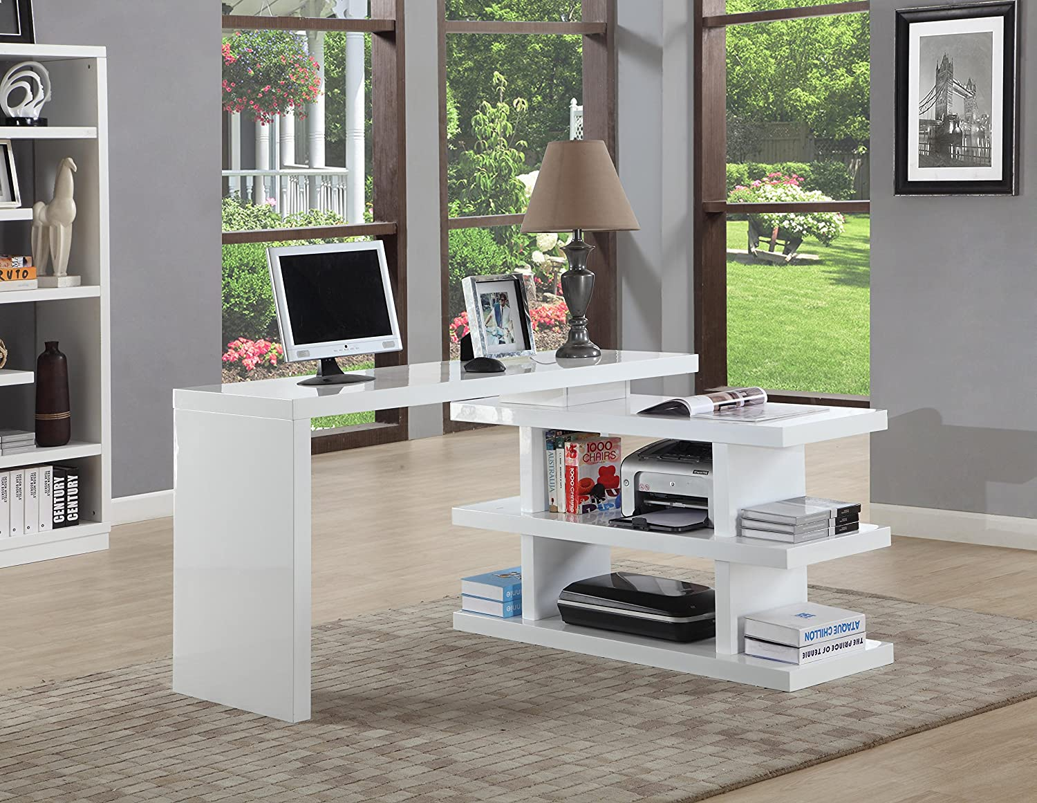amazoncom chintaly imports  motion home office desk white  - amazoncom chintaly imports  motion home office desk white kitchen dining