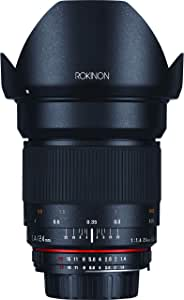 Rokinon 24mm F/1.4 Aspherical Wide Angle Lens for Nikon with Automatic AE Chip for Auto Aperture, Auto Exposure and Focus Confirmation RK24MAF-N