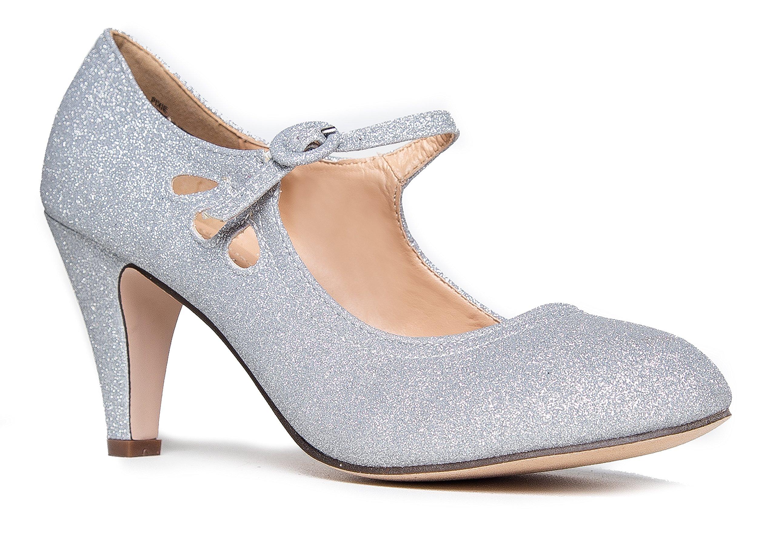 Pixie Mary Jane Heel, Silver Glitter, 8 B(M) US by ZooShoo (Image #1)