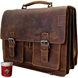 BARON of MALTZAHN Large Briefcase - Mens top-handle bag HEDIN - brown leather