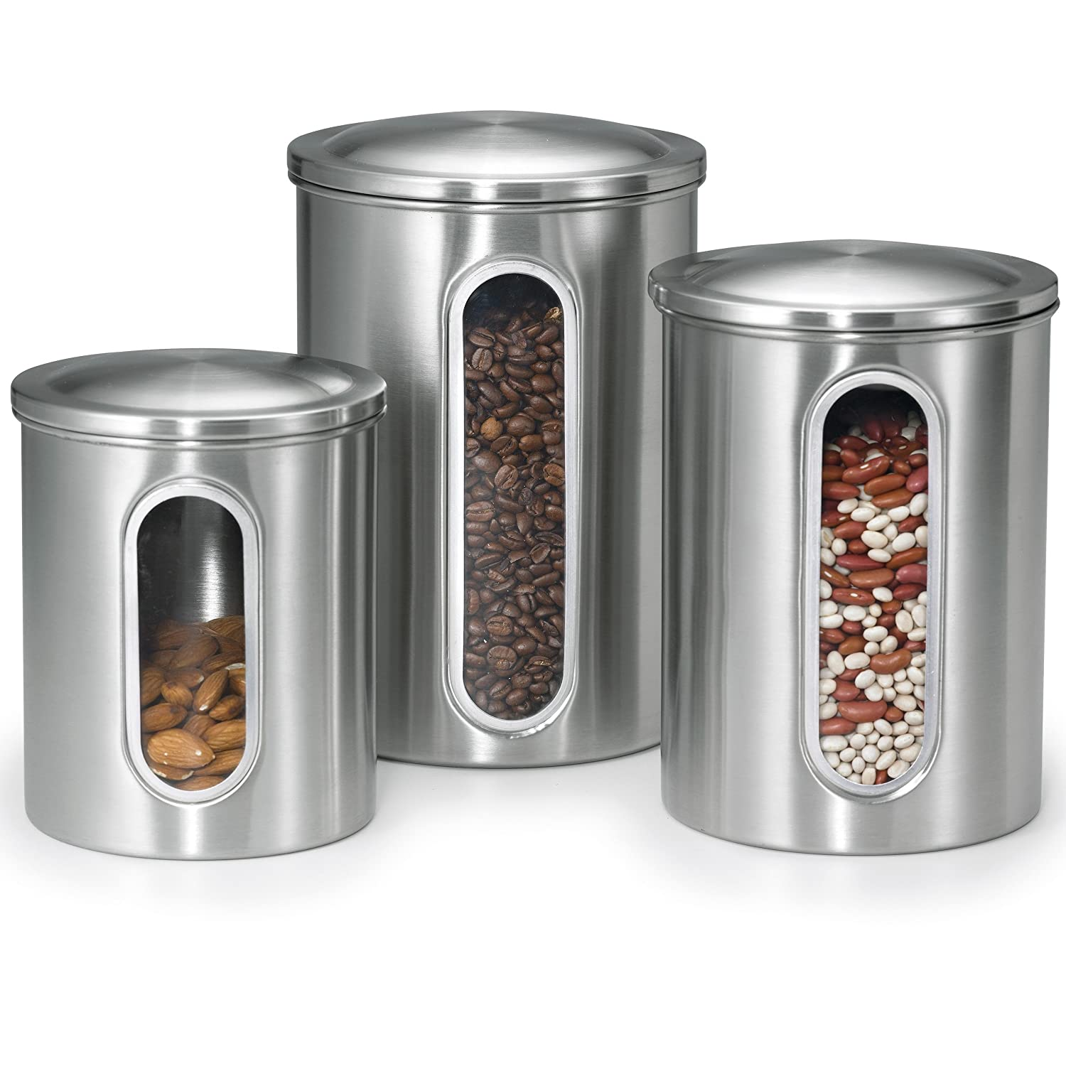 Amazon.com: Polder 3 Pc Food Storage Canister Set, Removable Air Tight  Lids, Stainless Steel, See Through Windows To View Content Levels, 2, 3 U0026 4  Qt Sizes: ...