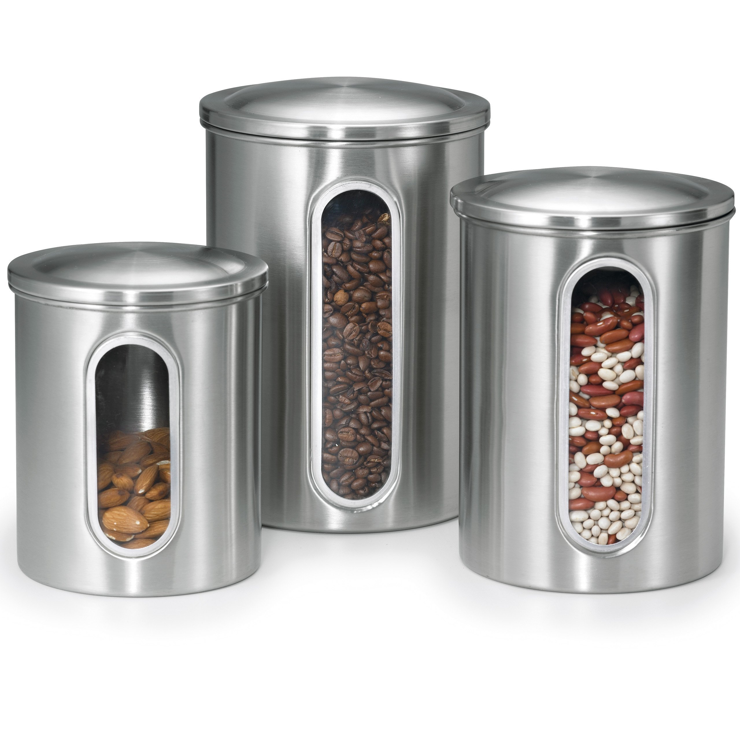 Polder 3 pc Food Storage Canister Set, Removable Air-Tight Lids, Stainless Steel, See-Through Windows to View Content Levels, 2, 3 & 4 qt sizes