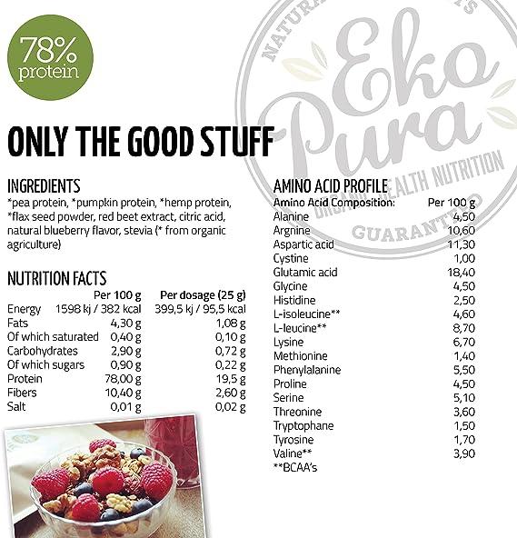 Proteína Vegana Natural - Arándano - 78% de Proteina - Ingredientes orgánicos (500g)