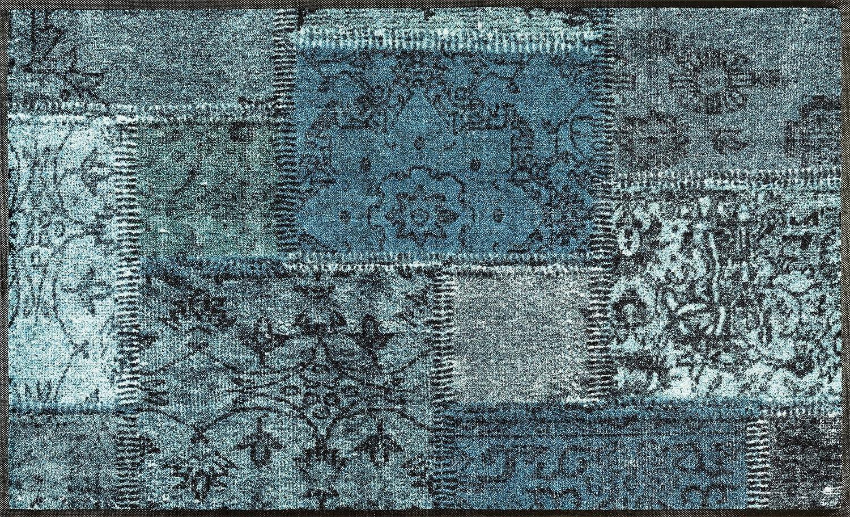 Wash+dry Vintage Patches türkis Fußmatte, Acryl, grün, 75 x 120 x 0.7 cm