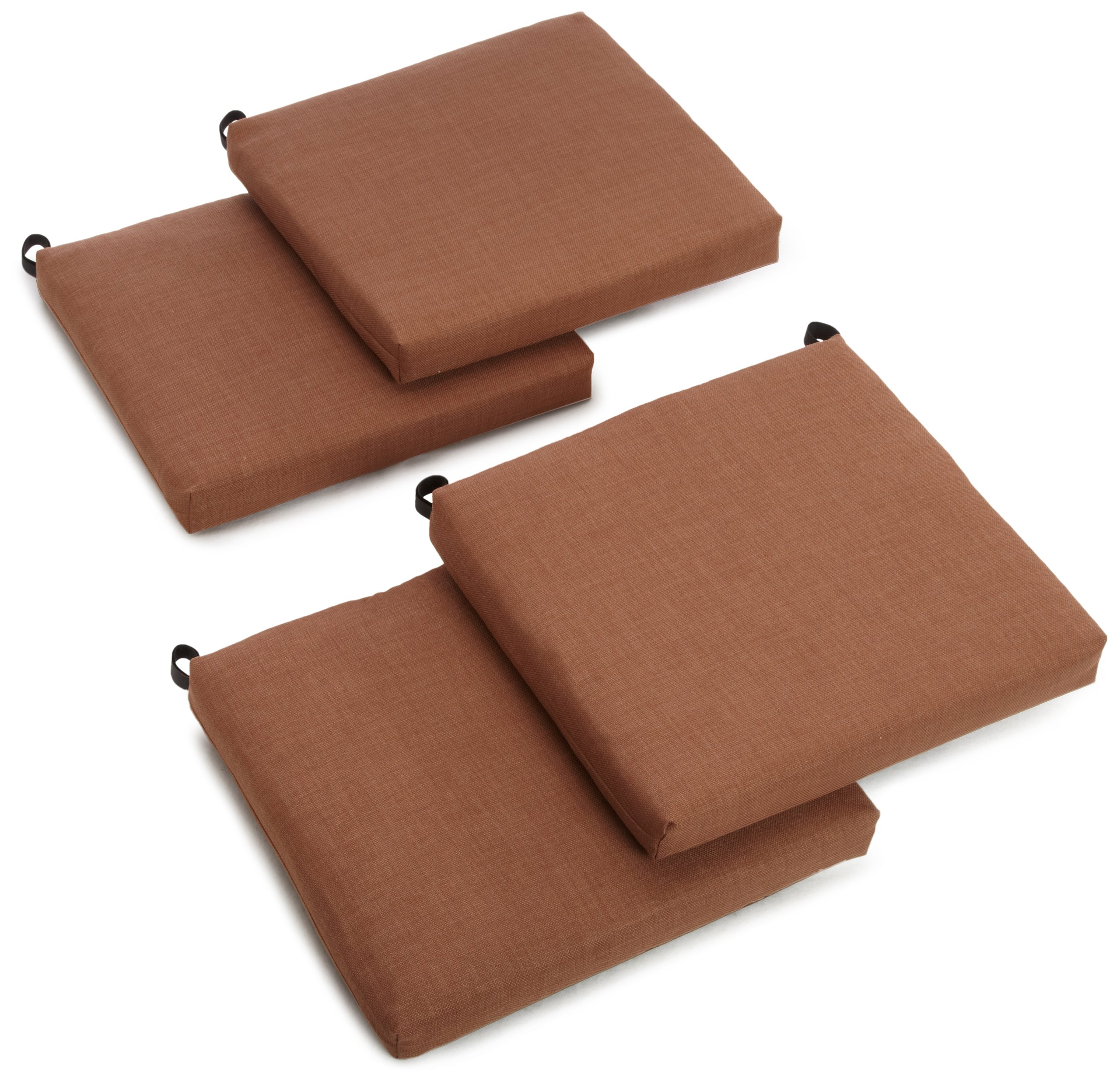 Blazing Needles Outdoor Spun Poly 19-Inch by 20-Inch by 3-1/2-Inch All Weather UV Resistant Zippered Cushions, Mocha, Set of 4