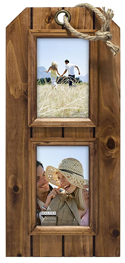 Malden International Designs Walnut Tag Distressed Wood With Routing And Decorative Rope Picture Frame 2 Option 2 4x6 Brown