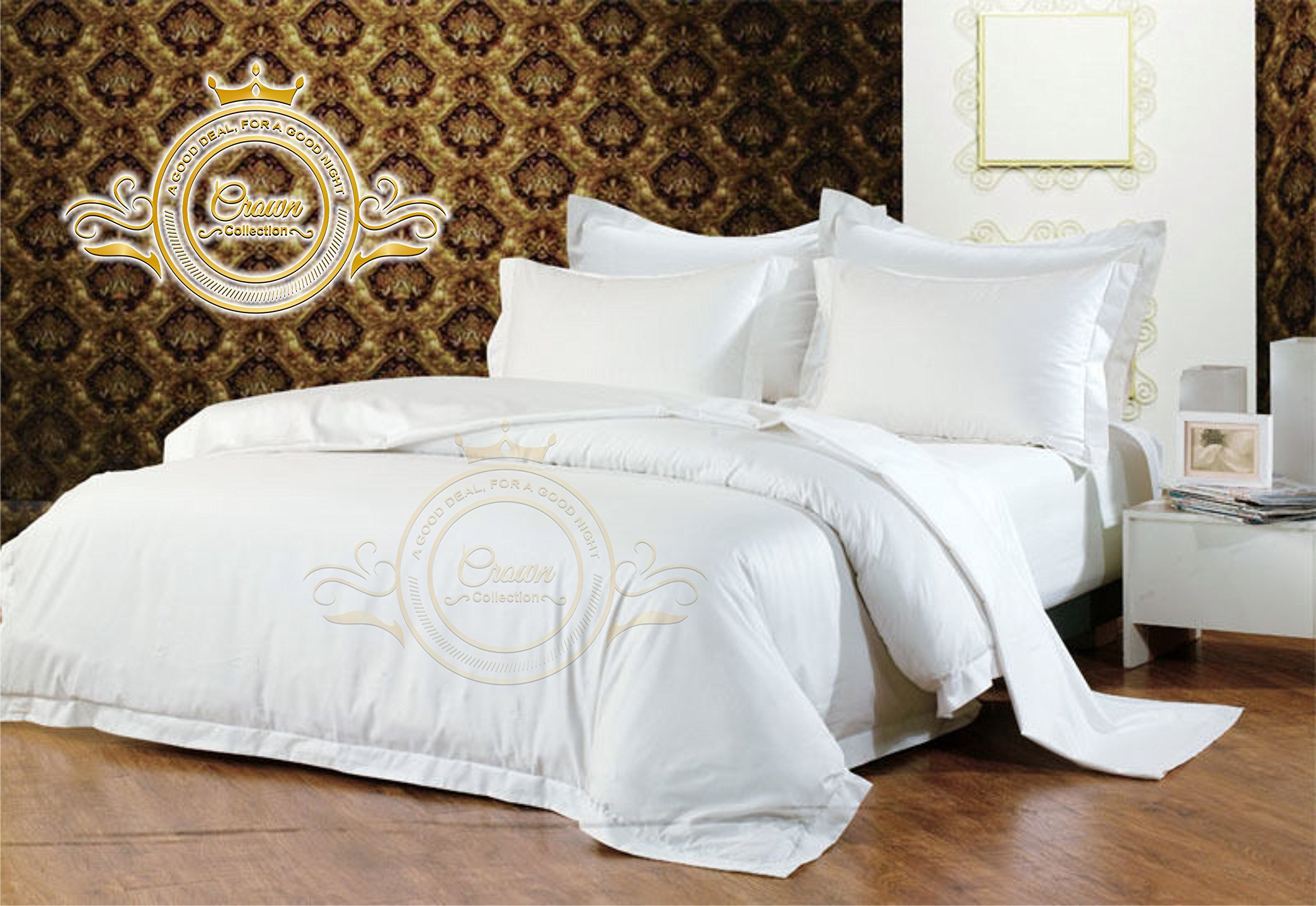 Crown Royal Hotel Collection Export Quality 850 Thread Count Egyptian Cotton King Size Duvet Cover / Dona Cover With Button Closer White Solid