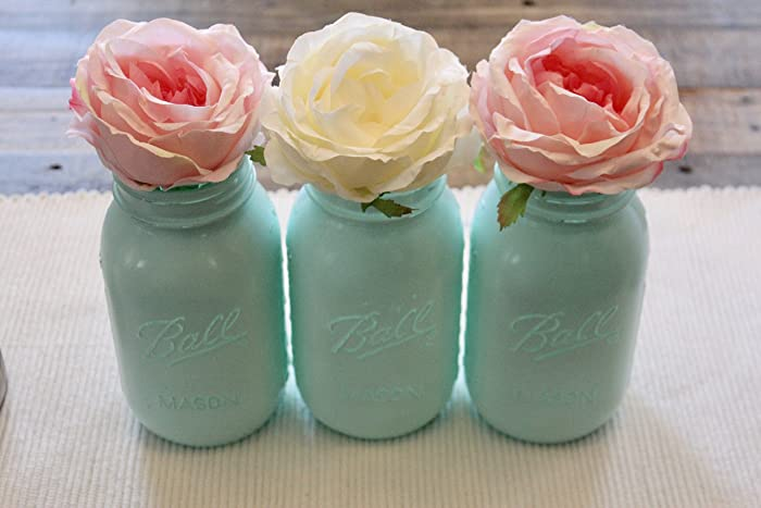 Amazon Com Turquoise Mason Jars Bridal Shower Centerpieces Handmade