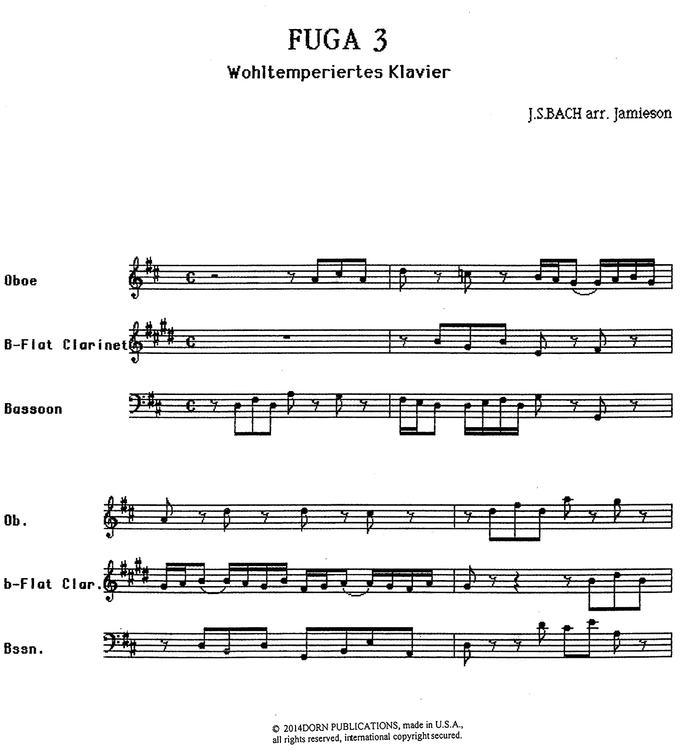 Amazon com : Fuga 3 for Woodwind Trio by J S  Bach
