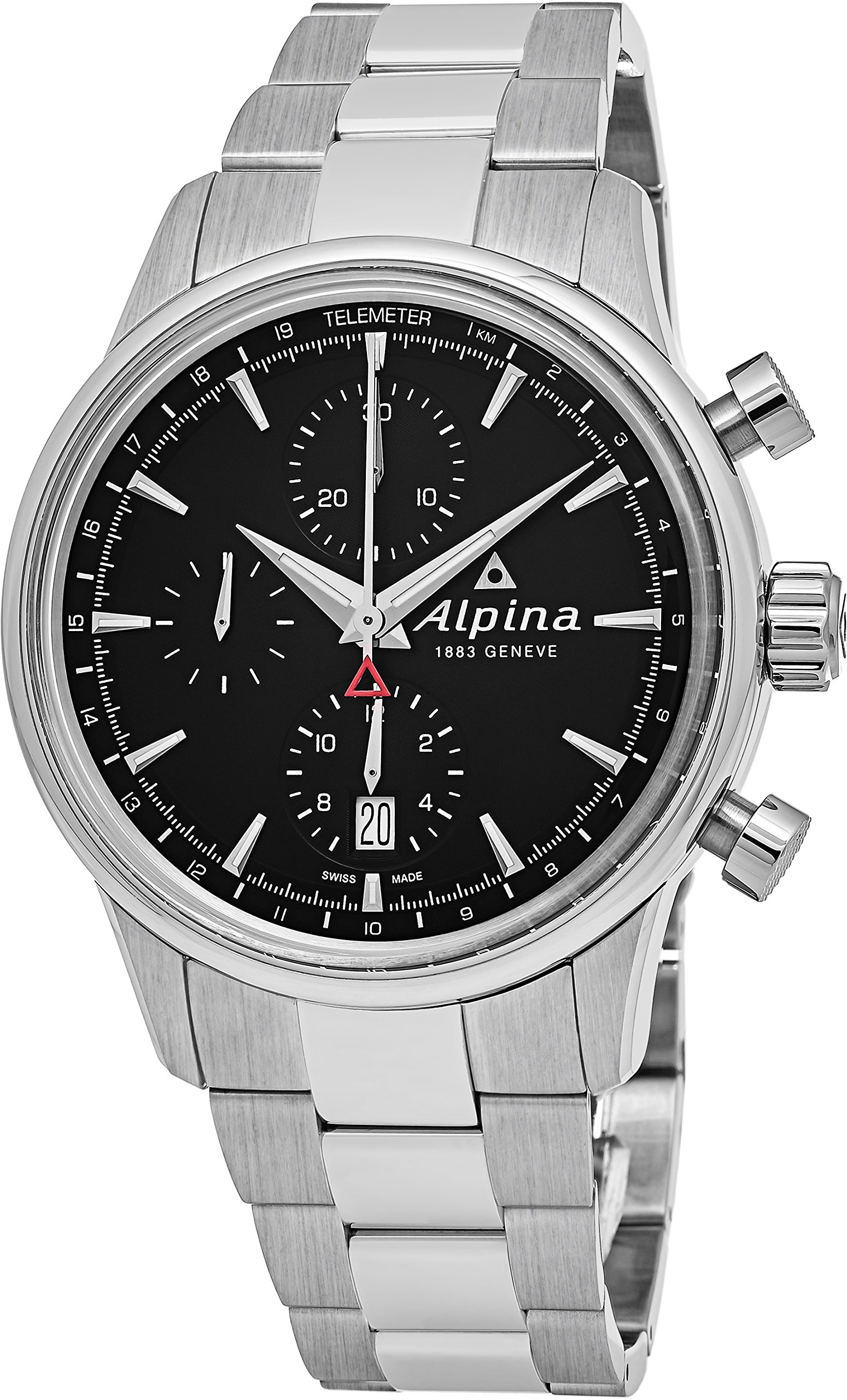 Alpina Alpiner Chronograph Automatic Mens Stainless Steel 41mm Black Face Telemeter Swiss Alpina Watch AL-750B4E6B