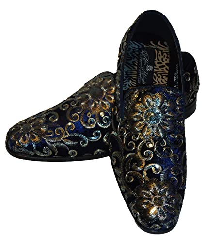ffcdde109139 AM 6734 Mens Navy Blue Gold Silver Embroidered Slip On Dress Shoes (12)