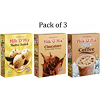 Milkomix Butter Scotch, Chocolate & Cold Coffee Flavored Milk Powder – Pack of 3