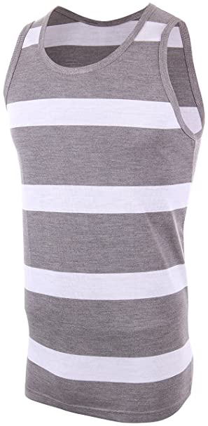 a184406c747 Enimay Men s Striped Summer Hulk Beach Tank Top Slim Fit Gym Muscle Shirt  2602B