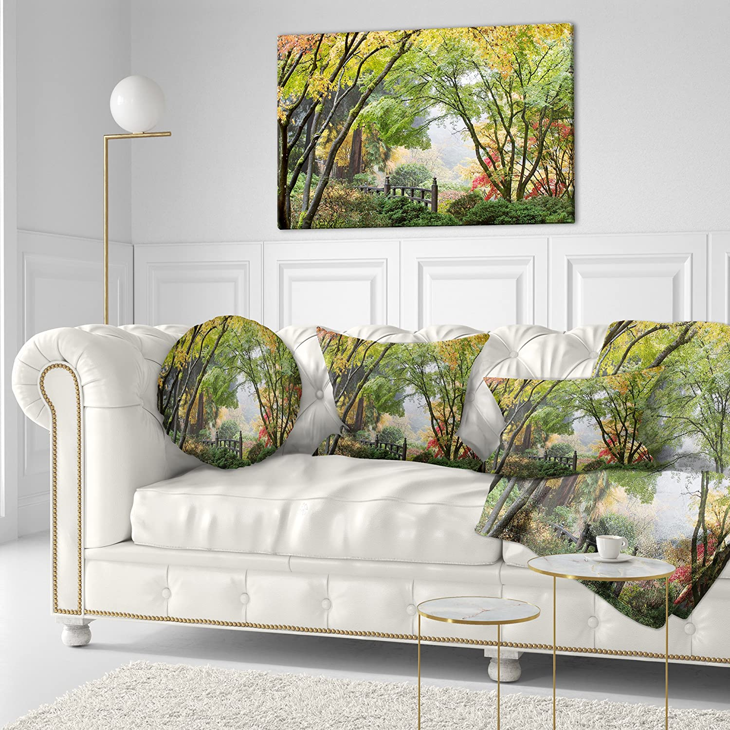 Insert Printed On Both Side Designart CU6495-16-16-C Maple Tree Canopy by Bridge Photography Round Cushion Cover for Living Room Sofa Throw Pillow 16