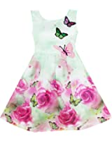 Girls Dress Rose Flower Print Butterfly Embroidery Purple