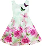Amazon Price History for:Sunny Fashion Girls Dress Rose Flower Print Butterfly Embroidery Purple