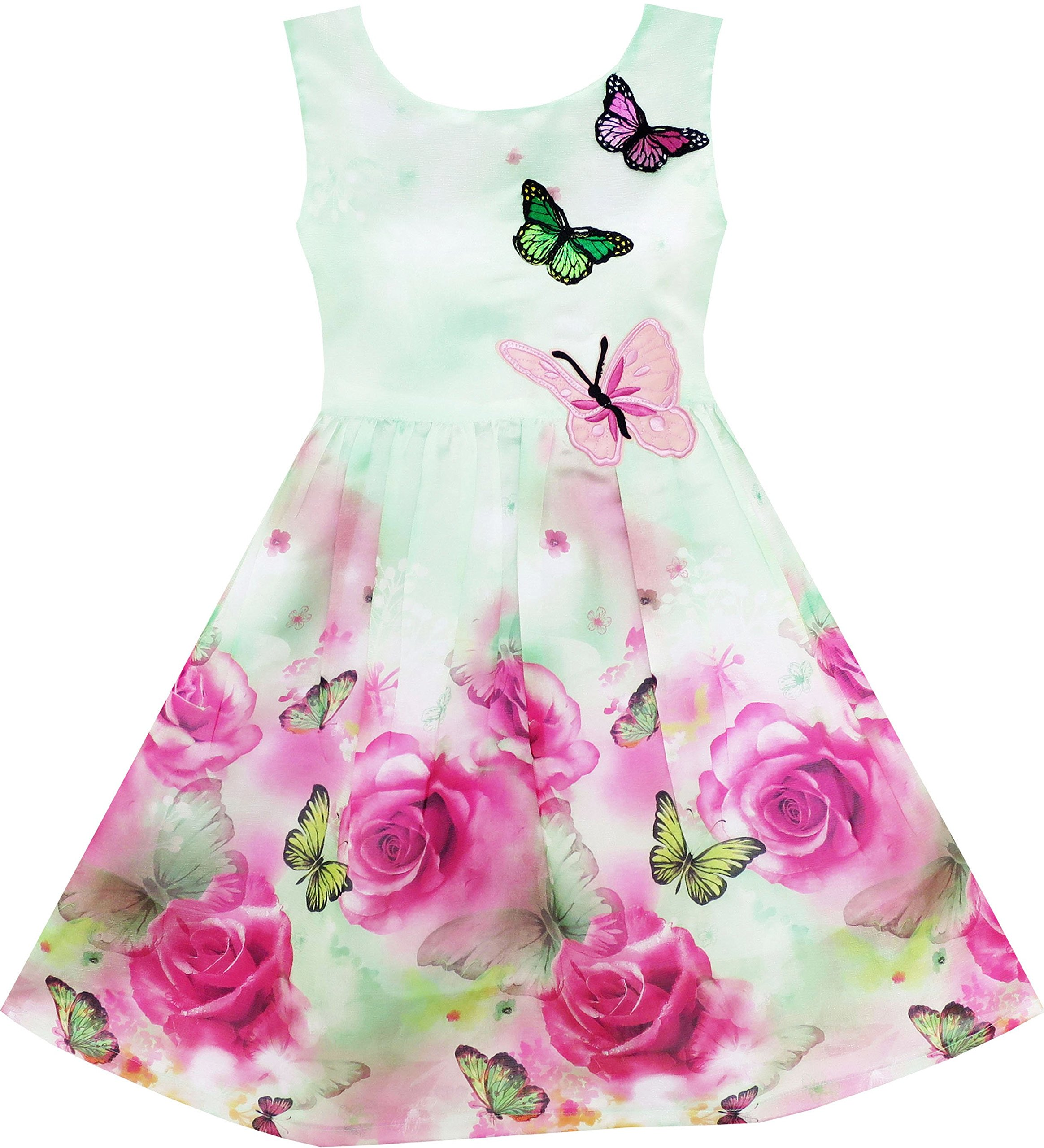 Sunny Fashion Girls Dress Turquoise Butterfly Embroidered Halter Dress Party