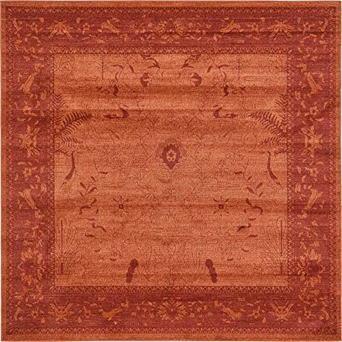 Unique Loom La Jolla Collection Tone-on-Tone Traditional Rust Red Square Rug 8 0 x 8 0