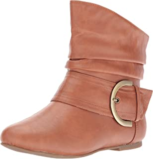 ec0424a065da Top Moda Women s Ankle Booties Buckle Mid Calf Buckle Slouch Flat Heel  Strap Fashion Shoes
