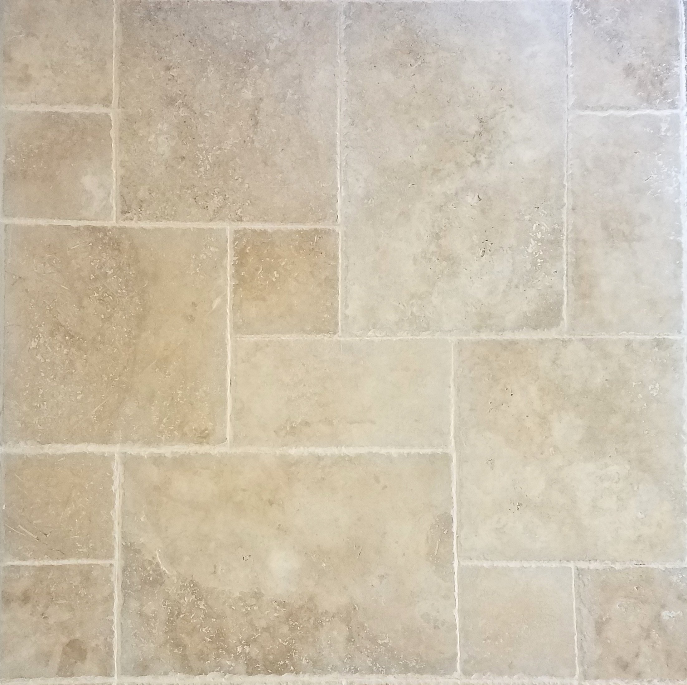 200 SQ.FT. Travertine Tile Versailles Pattern (Walnut) Pool & Patio, Backyard... Brushed and Chiseled Natural Stone for Outdoors & Indoors