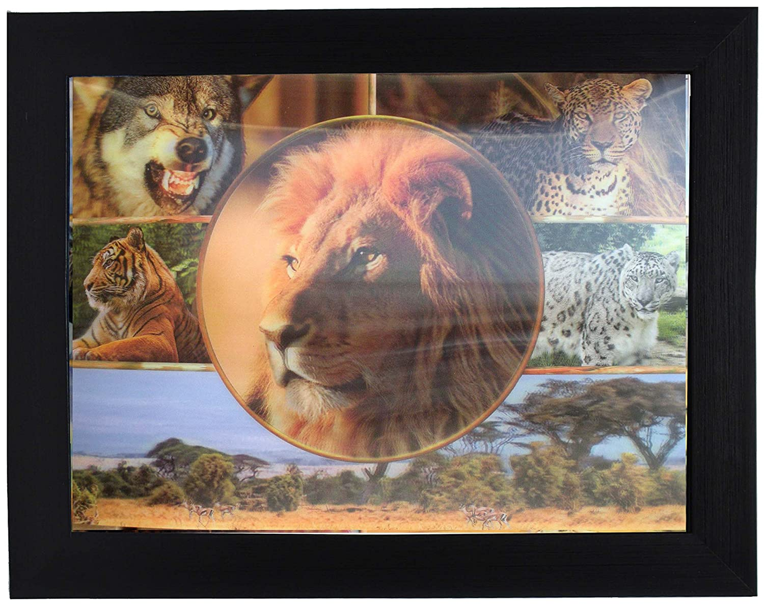 Amazon 3d lenticular framed 3d picture poster artwork wall amazon 3d lenticular framed 3d picture poster artwork wall decor holographic pics optical illusion animated image lion tiger wolf jeuxipadfo Images