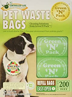 Green N Pack Dog-Waste Refill Bags, Compact Refill Packs, 200 Bags,