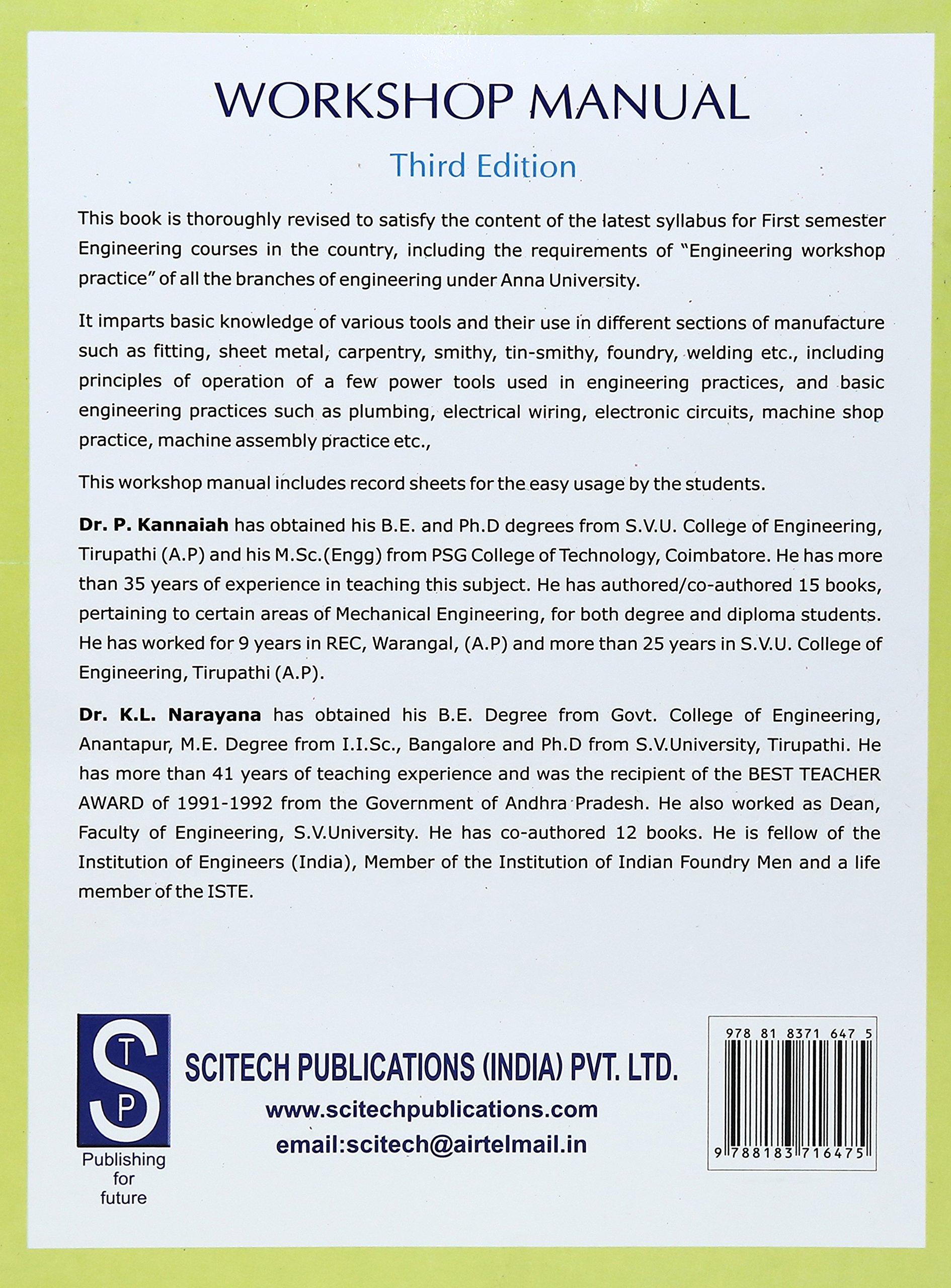 third edition workshop manual p kannaiah k l narayana rh amazon com Smithy Super Shop Model 720 Super Shop 10 in 1