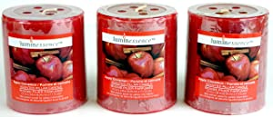 Luminessence(Tm) Apple Cinnamon Scented Pillar Candles, 3 Pillar Candles In Each Pack - - Wonderful Aroma - Long Lasting – Inexpensive - Each Soy Wax Candle Has A Wonderful Apple Cinnamon Scent