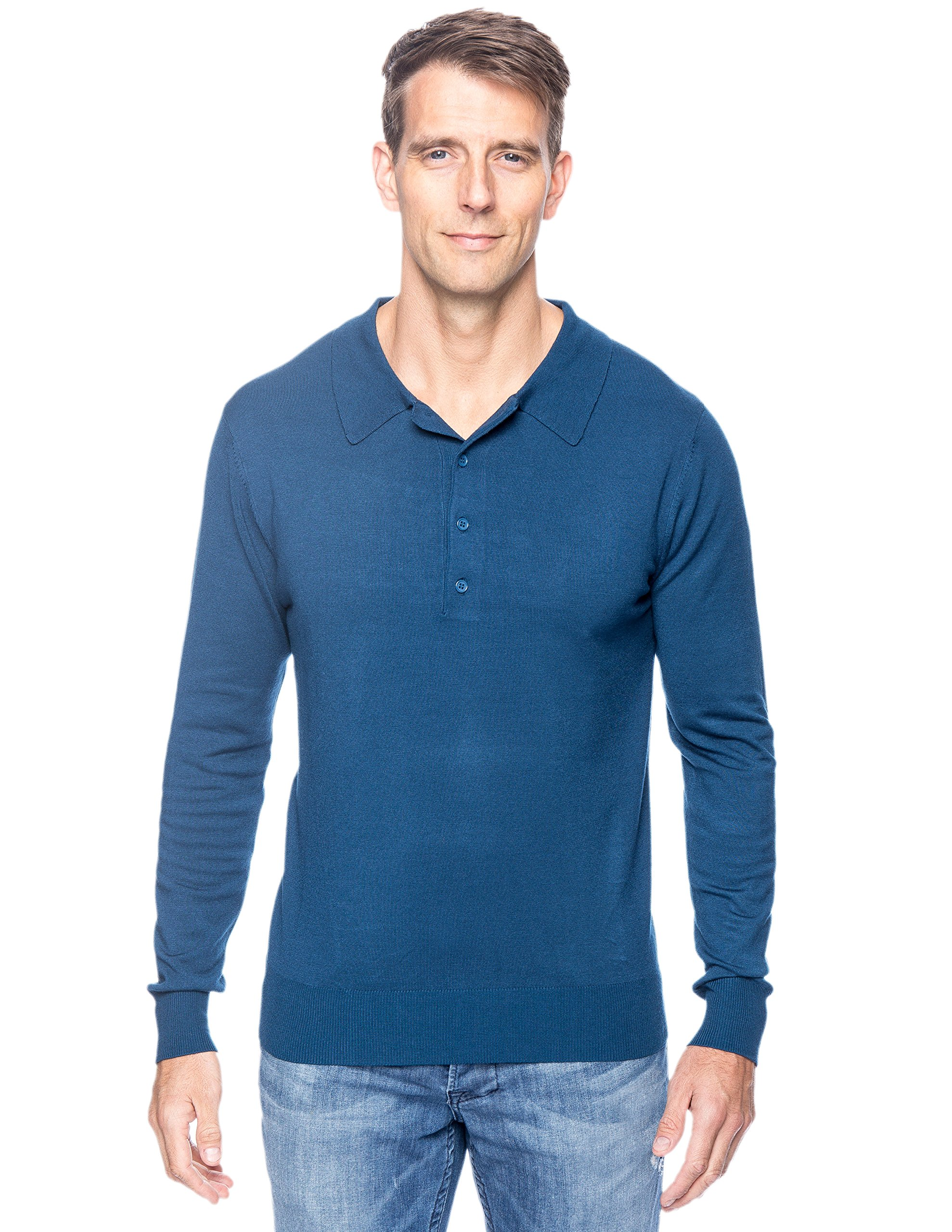 Tocco Reale Men's Classic Knit Long Sleeve Polo Sweater - Teal - L