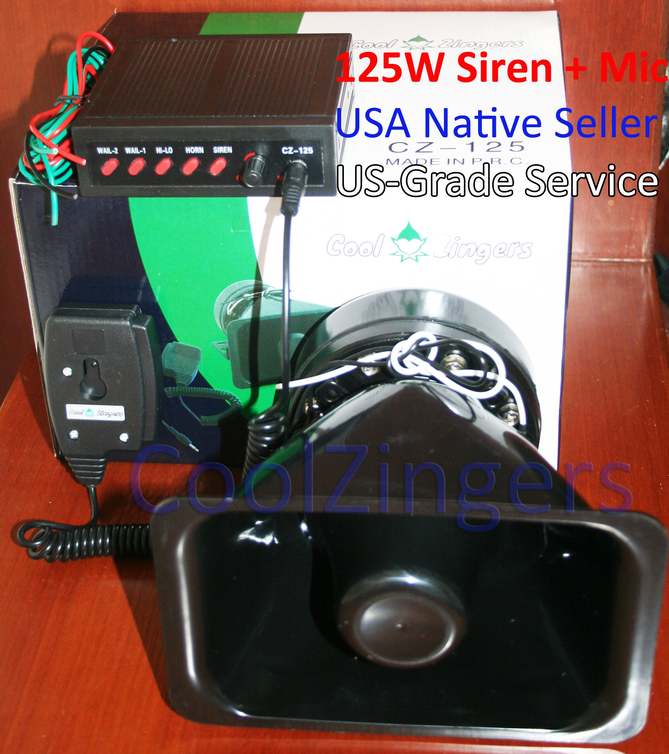 Cool Zingers 125 Watt Police Siren 5 Sound Emergency Vehicle Warning Speaker Pa System Microphone 12v High Power by Cool Zingers (Image #1)