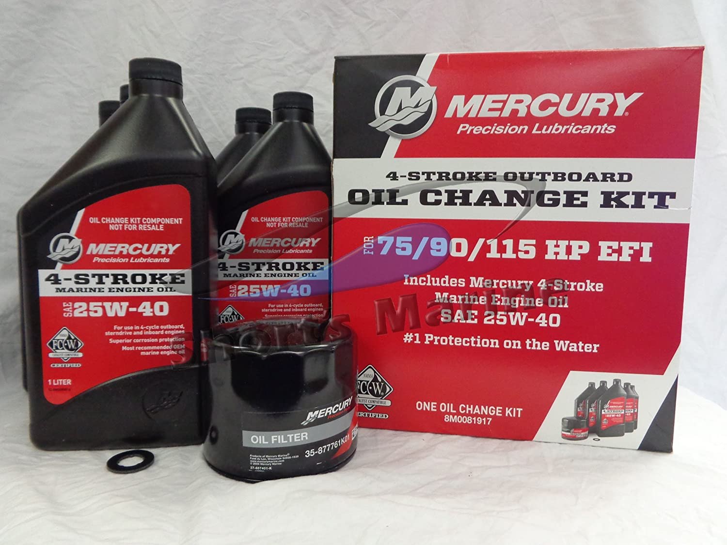 Amazon.com: MERCURY Oil Change and Filter Kit 75-90-115hp Four ...