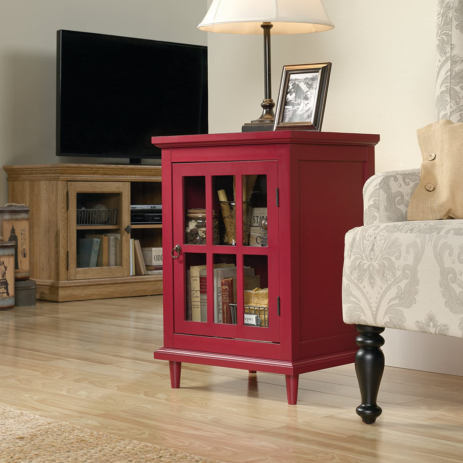 Sauder Barrister Lane Side Table, Berry Red finish