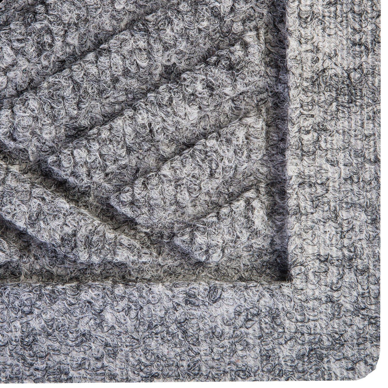 Hudson Exchange Waterhog Diamond Fashion Polypropylene Fiber Entrance Indoor/Outdoor Floor Mat, 35'' L x 35'' W, 3/8'' Thick, Medium Gray