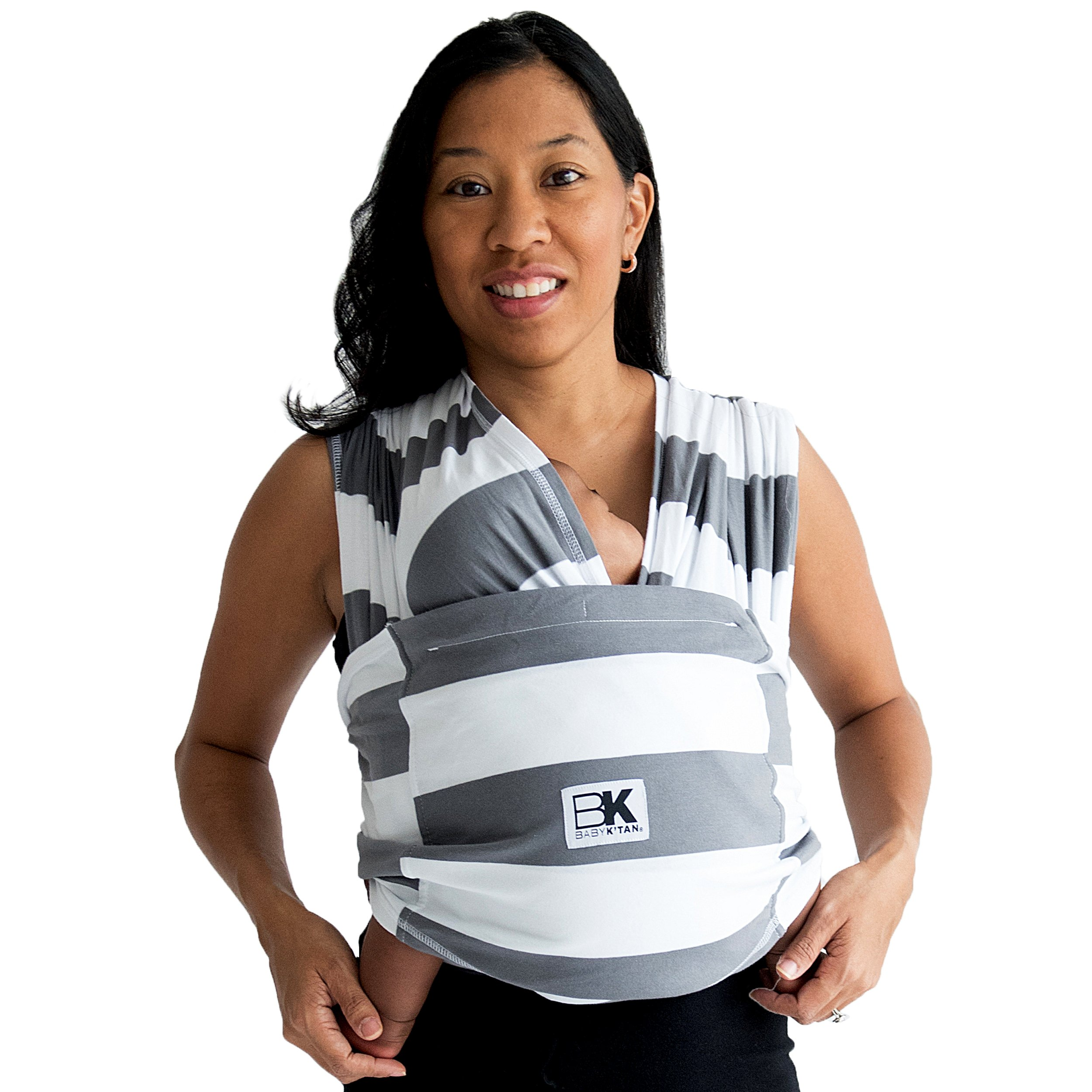 Baby K'tan PRINT Baby Carrier, Charcoal/White Stripe Soft Cotton (S)