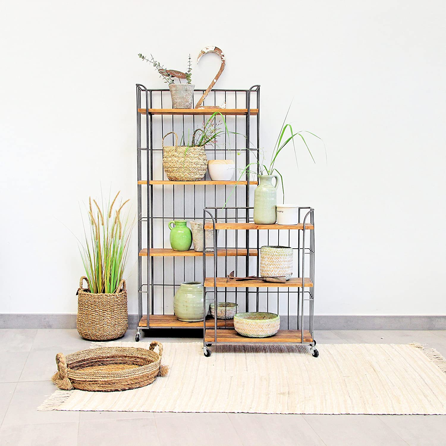 WHW Whole House Worlds Urban Chic Rolling Rack with 4 Shelves, Wheels, Metal and Wood, Approx. 5 ft Tall 59 Inches – 150 cm