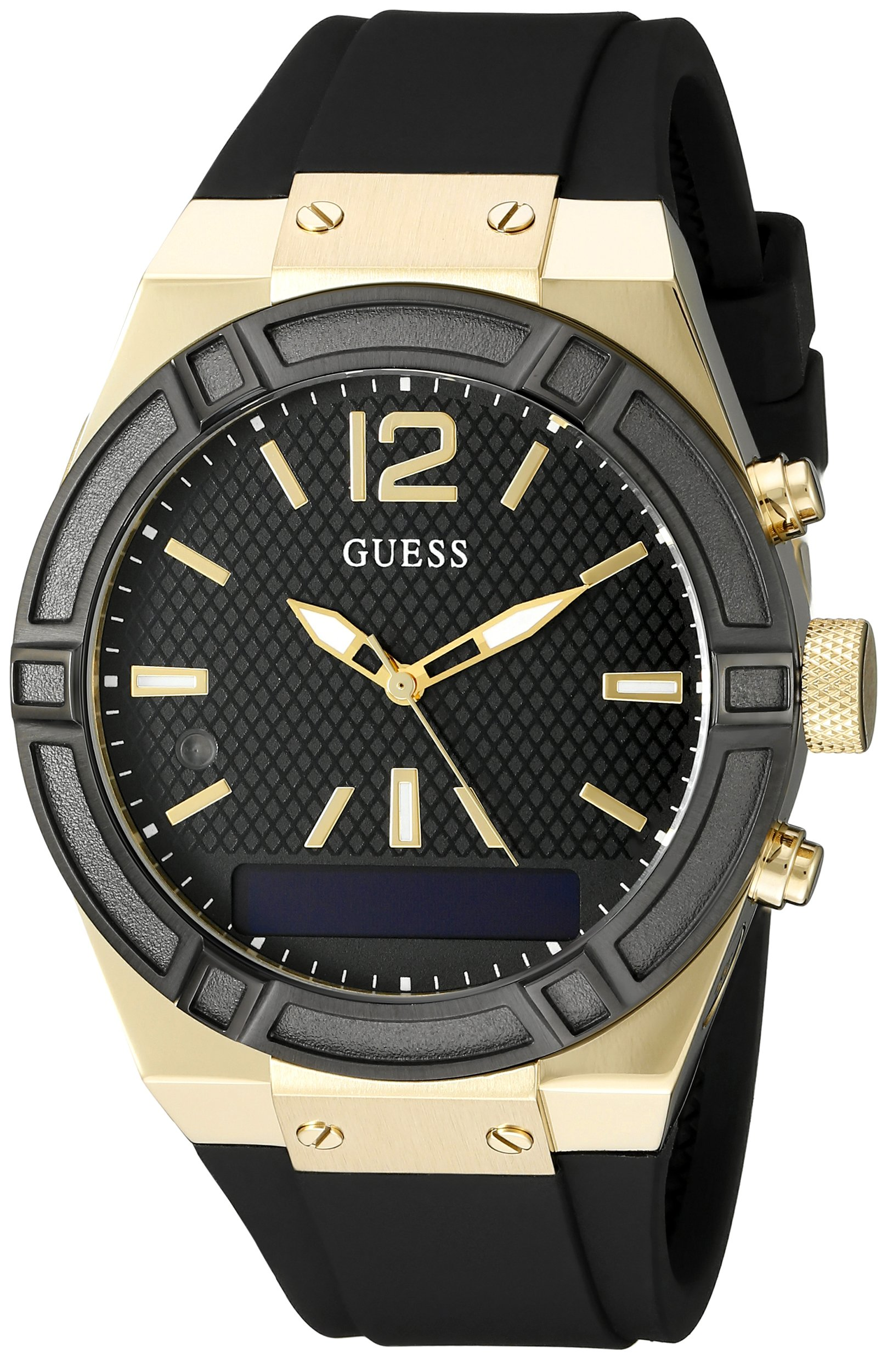 GUESS Women's CONNECT Smartwatch with Amazon Alexa and Silicone Strap Buckle - iOS and Android Compatible -  Black by GUESS