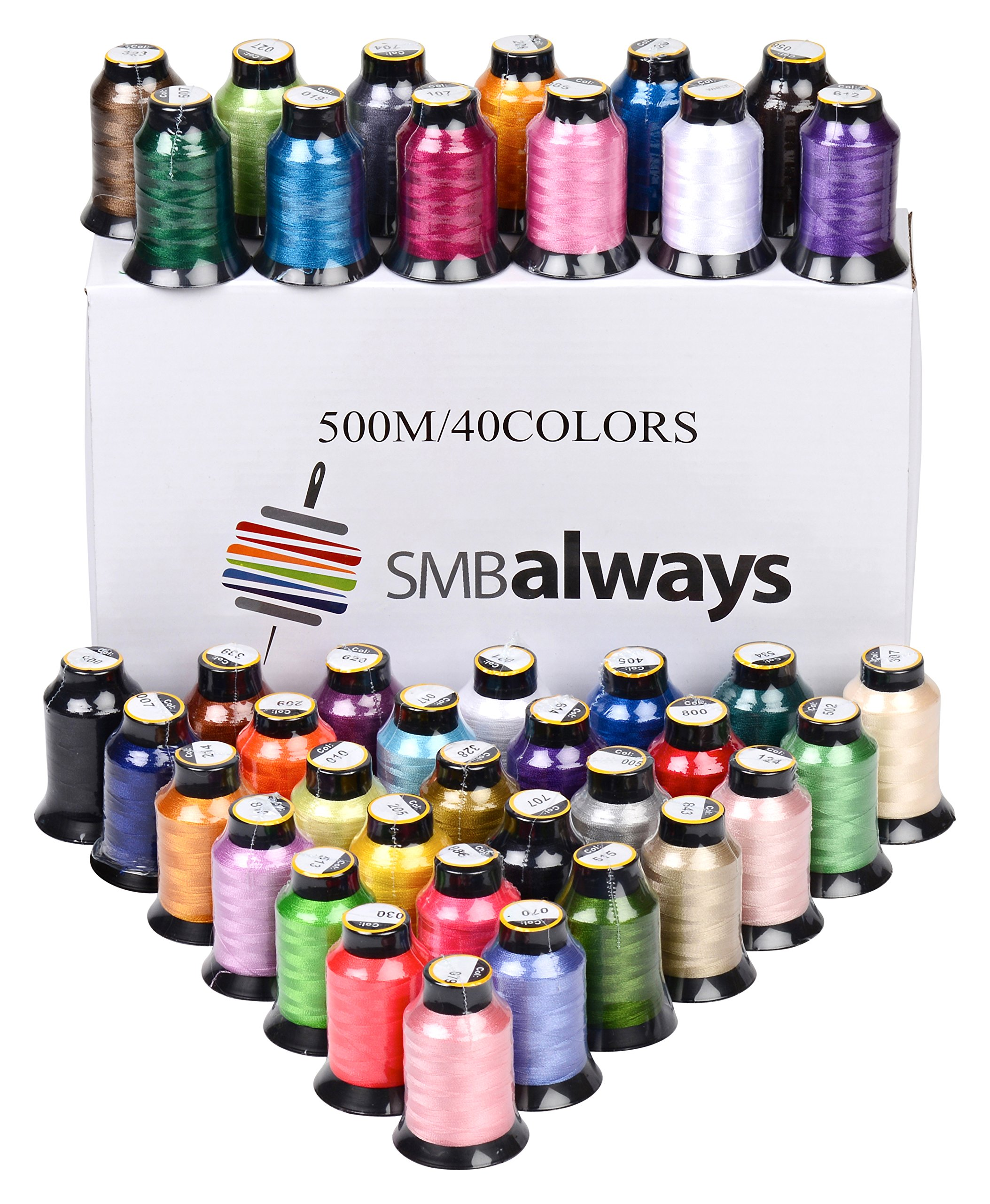 Polyester Embroidery Machine Thread Set (40 Spools, 500m Each) by SMB Always by SMB Always