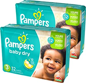 Pampers Baby Dry Diapers Size 3 Jumbo Pack, 32 Count, Pack of 2