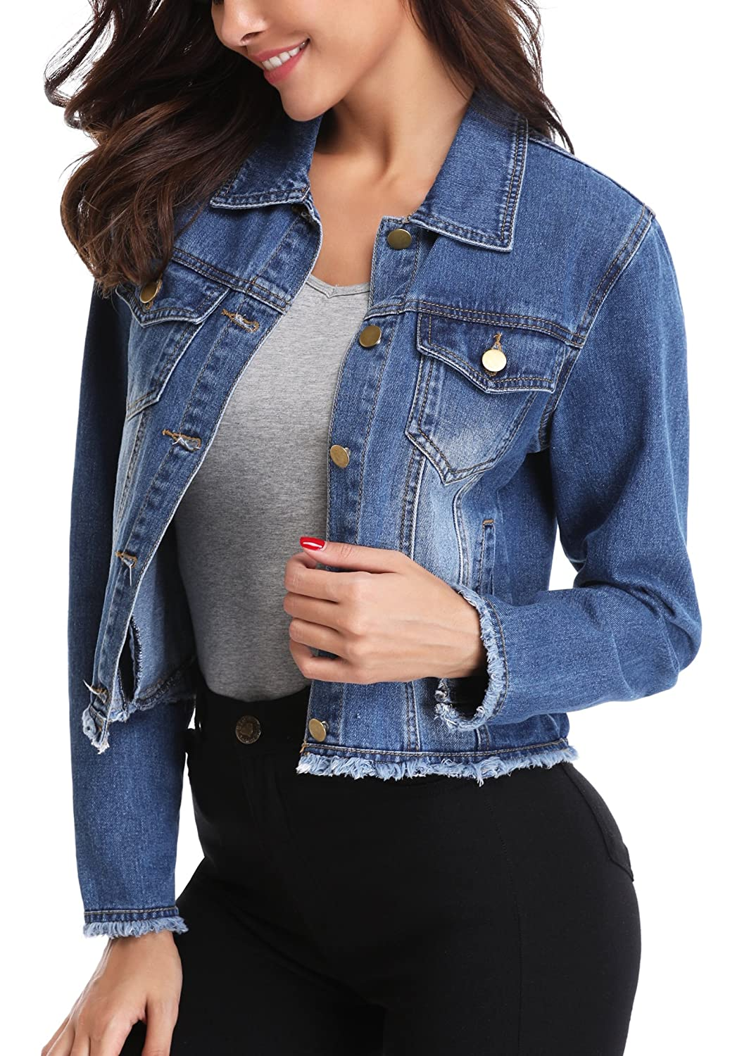 MISS MOLY Denim Jacket Vest for Women Vintage Ripped Button up Western Pockets Cropped Washed Jean Fall Jacket Coat