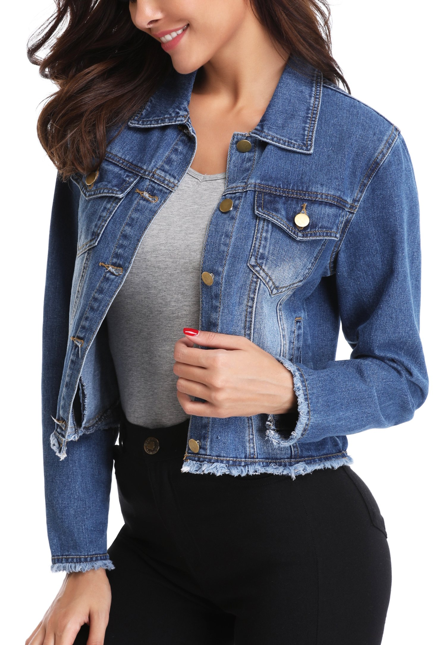 MISS MOLY Women's Vintage Ripped Btton up Western Pockets Cropped Washed Denim Jean Jacket Coat Blue XS