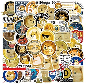 Pack of 50 Dogecoin Stickers (by Chattanooga Crypto Holding Co) for Fans of Dogecoin Sticker, Cryptocurrency, Crypto, Bitcoin, Ethereum, Wallstreetbets Stonks Elon Musk, Doge Coin Stickers for Laptop