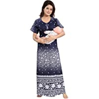 TUCUTE Women's Beautiful Dotted Print Cotton Fabric Feeding/Maternity/Nursing Nighty/Nightwear.