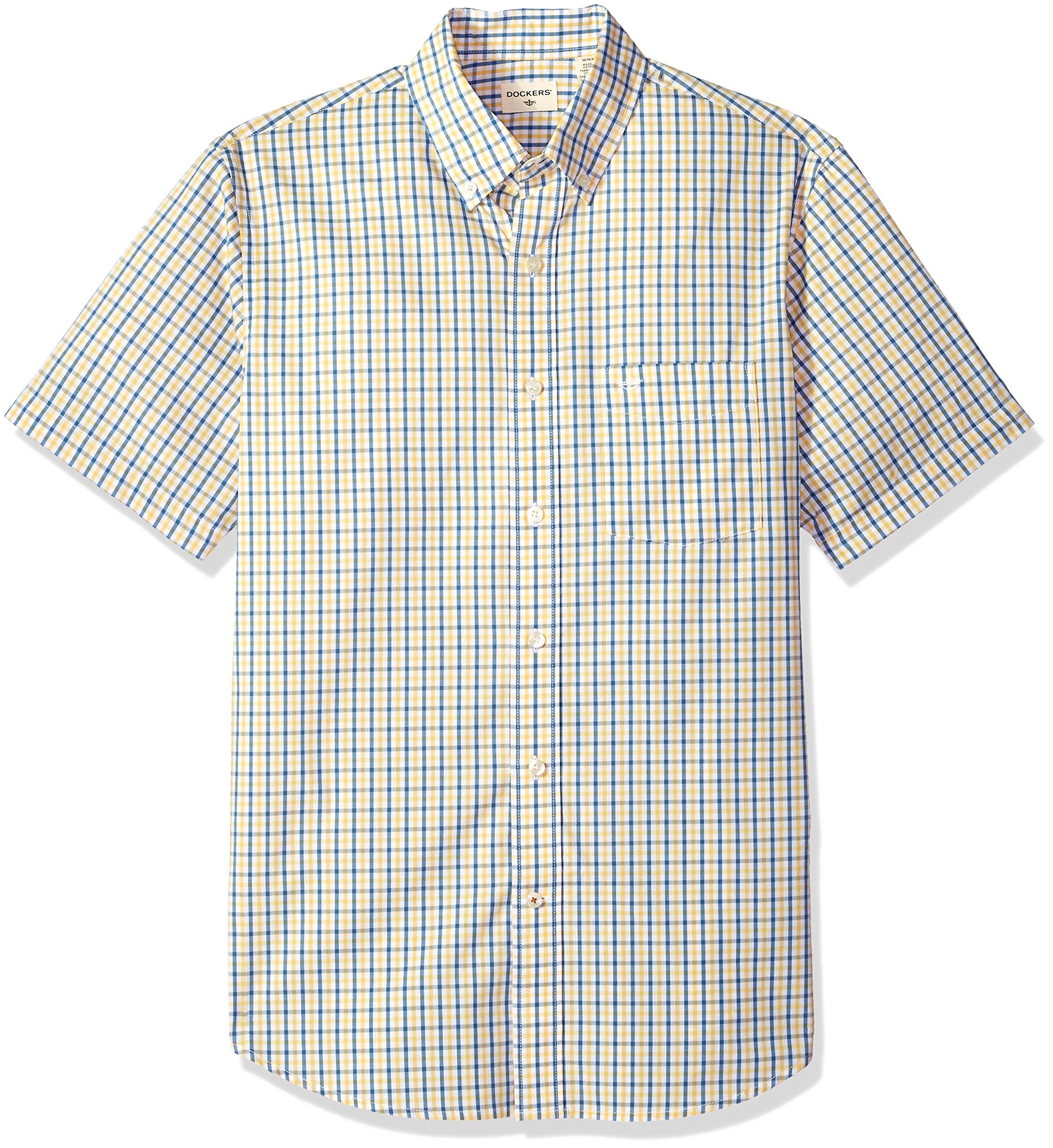 Dockers Men's Short Sleeve Button Down Comfort Flex Shirt, Mimosa Gingham 2X-Large