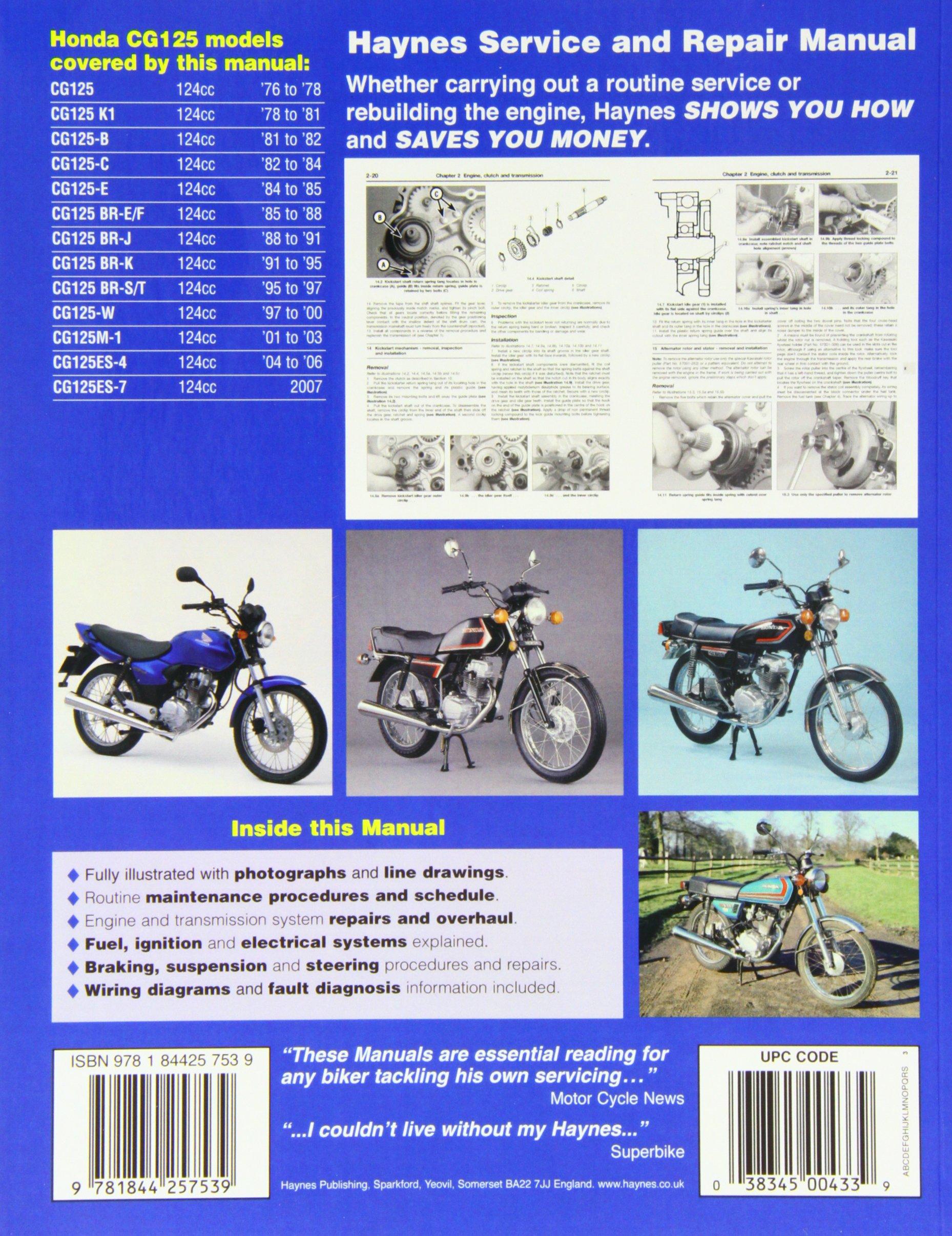 Honda Cg125 1976 2007 To Haynes Service And Repair Reading Wiring Diagram Manuals Anon 9781844257539 Books