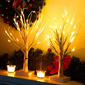 Twinkle Star 24 LED Christmas Tabletop Lighted Birch Tree Battery Operated, Winter Table Decoration Lights for Indoor Xmas Wedding Party Home Bedroom Centerpiece Decor, 2 Pack